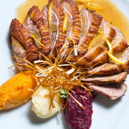 Duck breast with ginger orange sauce
